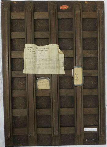 dos, verso, revers, arrière ; vue avec montage ; éléments séparés © 2019 Musée du Louvre / Peintures
