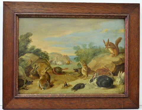 Lapins et taupes dans un paysage
