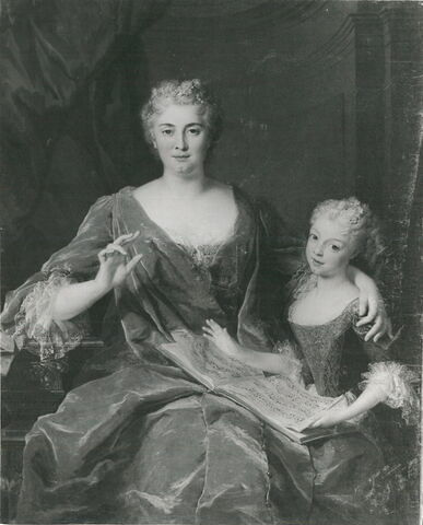 Portrait de Madame de La Sablonnière et sa fille.