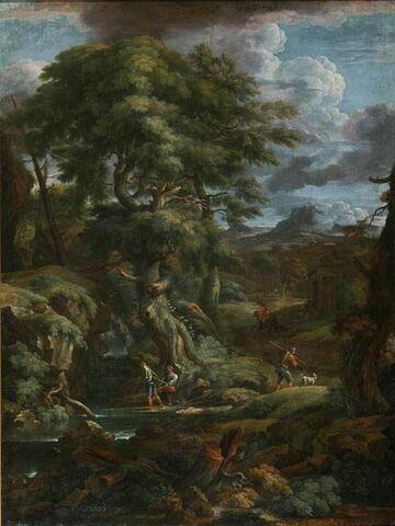 Paysage avec des pêcheurs