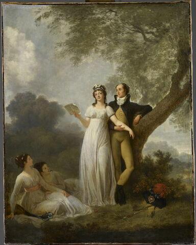 Quatre personnages dont une femme chantant dans un parc