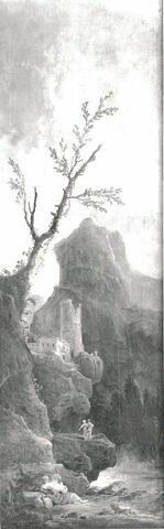 Paysage montagneux avec tour en ruines