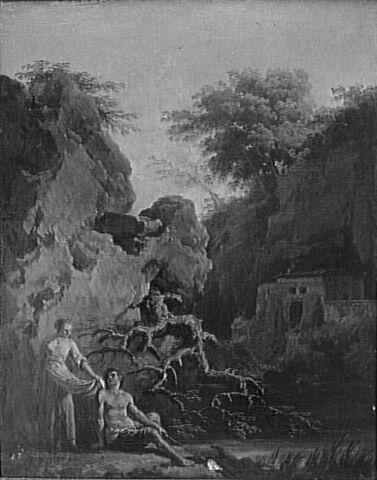 Paysage avec figures au bord de l'eau sur un fond de rocher