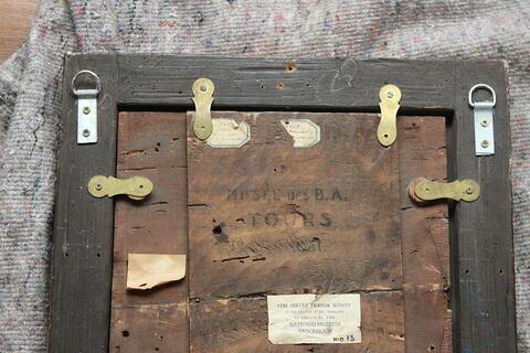 dos, verso, revers, arrière ; détail étiquette ; détail marque au pochoir © 2018 Musée du Louvre