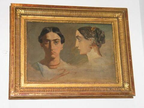 Double étude de tête de femme italienne (face et profil)