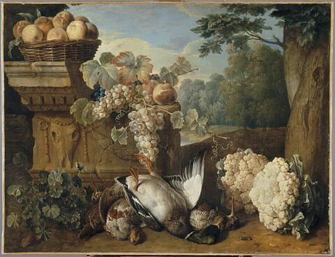 Gibier, fruits et choux-fleurs