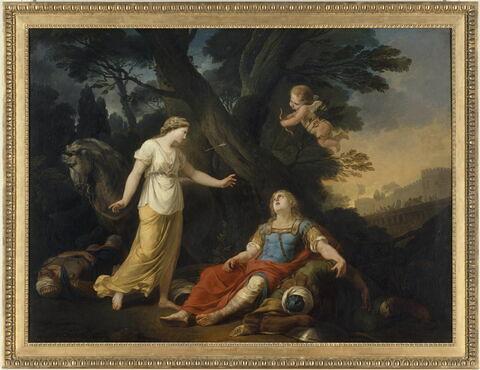 Tancrède blessé après avoit tué Argan est secouru par Clorinde