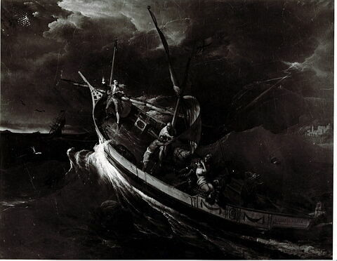 Joseph Vernet attaché à un mât étudie les effets de la tempête