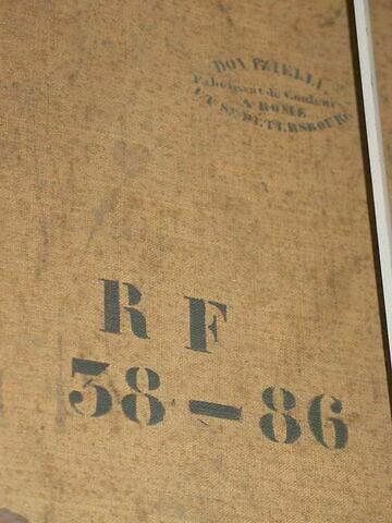 dos, verso, revers, arrière ; détail marque au pochoir © 2008 Musée du Louvre / Peintures