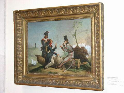 Scène militaire : soldats jouant à la drague (jeu de cartes)