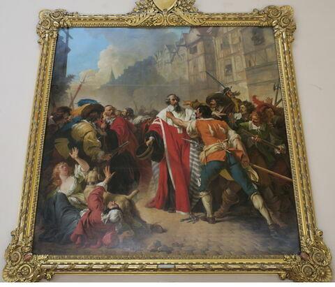 Le Président Molé, saisi par les factieux, au temps des guerres de la Fronde. La scène se passe près de la Croix du Trahoir