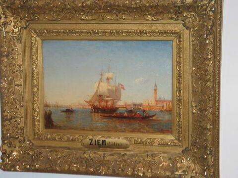Marine. Venise, entrée du grand canal, voilier sur l'Adriatique.