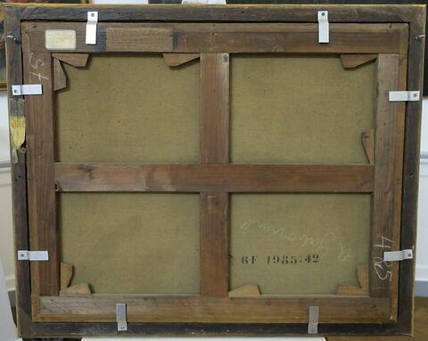 vue d'ensemble ; dos, verso, revers, arrière ; détail marquage / immatriculation © 2018 Musée du Louvre / Peintures