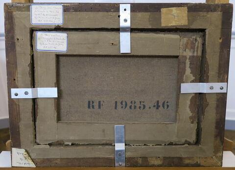 vue d'ensemble ; détail marquage / immatriculation ; dos, verso, revers, arrière © 2018 Musée du Louvre / Peintures