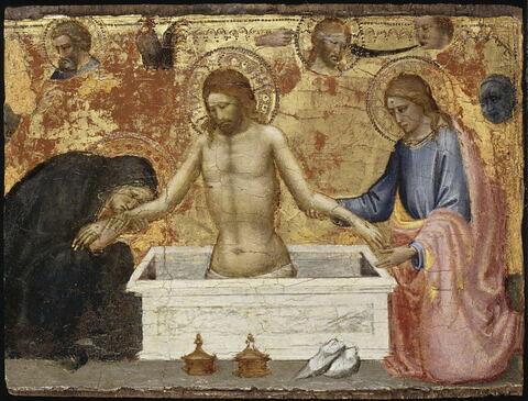 Scènes de la Vie du Christ : Christ au sépulcre entre la Vierge et saint Jean.