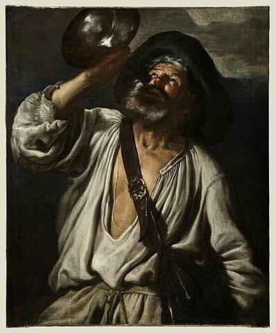 Paysan buvant dans une gourde