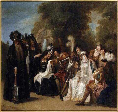 La Doloride, affligée de sa barbe, vient prier Don Quichotte de la venger