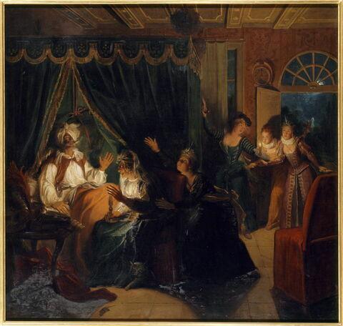 La Dame Rodrigue s'entretenant la nuit avec Don Quichotte est surprise par les demoiselles de la Duchesse