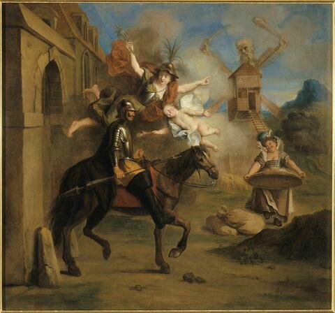 Don Quichotte conduit par la folie et embrasé de l'amour extravagant de Dulcinée, sort de chez lui pour être le chevalier errant