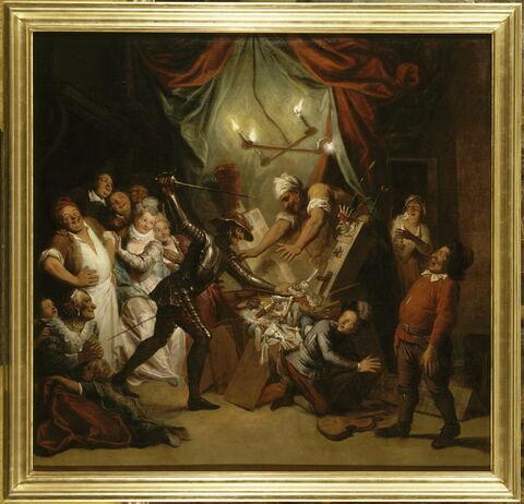 Don Quichotte prenant des marionnettes pour des Maures, croit, en les combattant, secourir deux amants fugitifs
