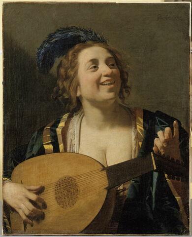 Femme jouant du luth