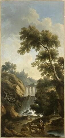 Paysage. Cascades et aqueduc entre rochers