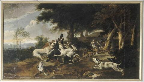Sanglier faisant tête aux chiens