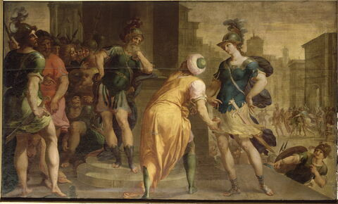 Clorinde et Argant quittant le sultan Saladin pour aller attaquer le camp des Croisés