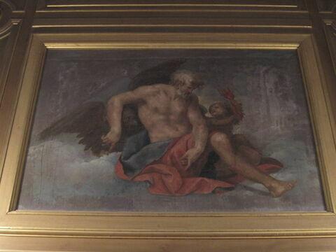 Jupiter assis dans un nuage, derrière lui une aigle. A sa gauche, un amour tenant un flambeau.