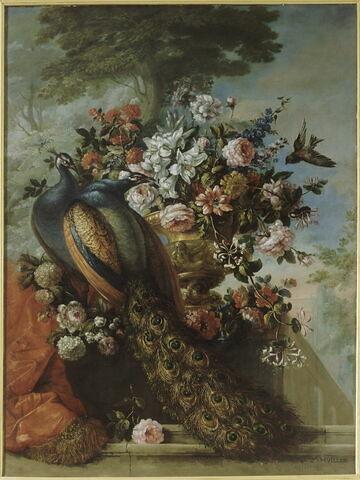 Des Fleurs et deux paons