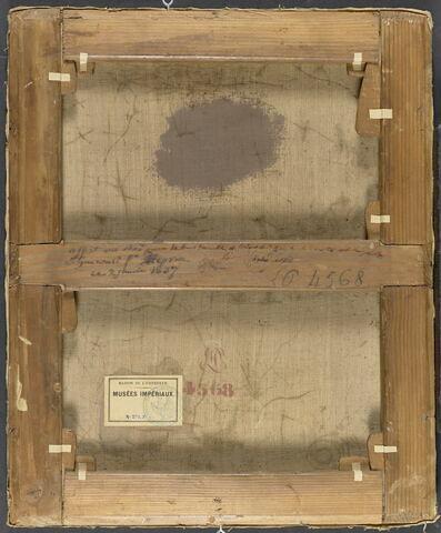 dos, verso, revers, arrière ; vue d'ensemble ; vue sans cadre © 2018 RMN-Grand Palais (musée du Louvre) / Adrien Didierjean