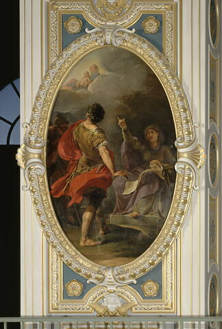 La Sibylle de Cumes prédit à Auguste la naissance de Jésus Christ et lui montre une Vierge et un Enfant dans le ciel