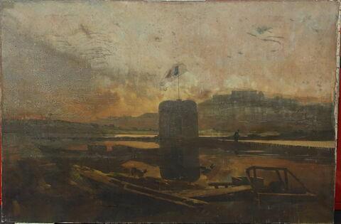 Vue du barrage de Bezons, soleil couchant (Seine-et-Oise)