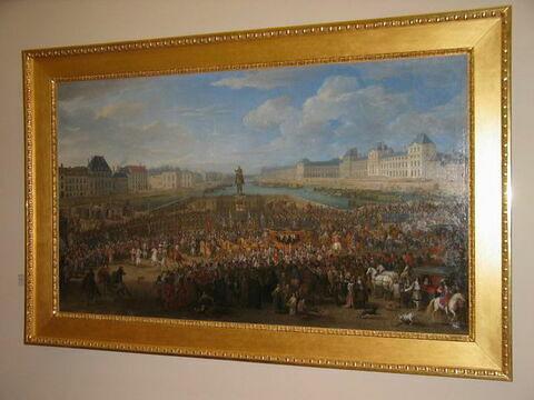Marche du roi accompagné de ses gardes passant sur le Pont-Neuf et allant au Palais