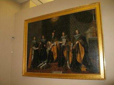 Louis XIV au lendemain de son sacre, reçoit le serment de son frère Monsieur, duc d'Anjou, comme chevalier de l'Ordre du Saint-Esprit à Reims, le 8 juin 1654