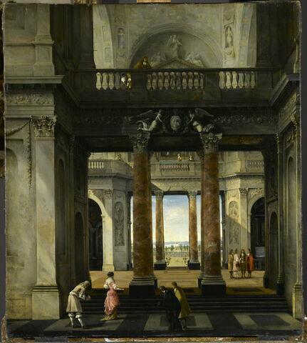 Personnages de distinction dans une architecture palatiale de fantaisie, avec portique et échappée sur un jardin