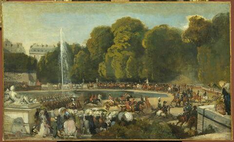 Entrée de la duchesse d'Orléans (Hélène de Mecklembourg) dans le jardin des Tuileries, à Paris, le 4 juin 1837