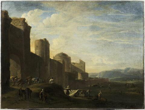 Charrette franchissant la porte d'une ville, aux murs baignés par une rivière