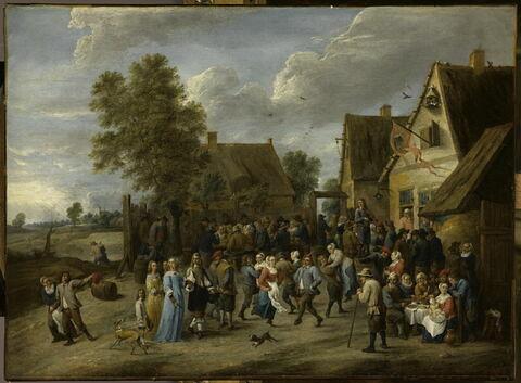 Fête villageoise avec couple aristocratique