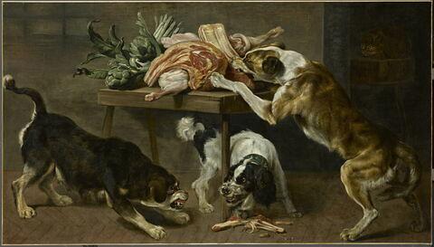 Trois chiens dans un garde-manger