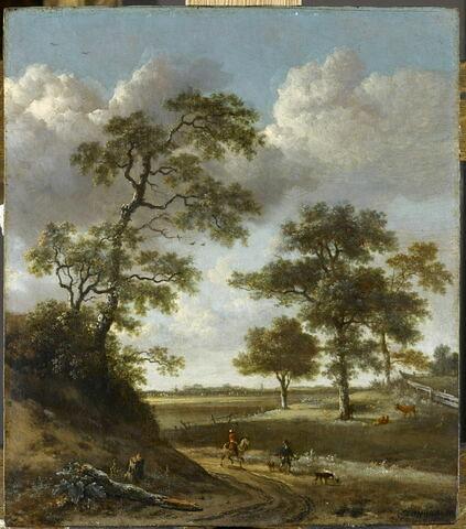 Chemin débouchant sur une plaine, avec un fauconnier
