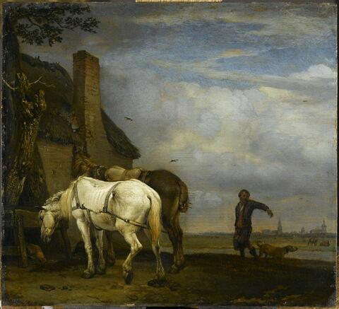 Deux Chevaux près d'une auge devant une chaumière