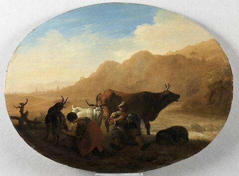 Les Pâtres: femme trayant une chèvre et joueur de flûte