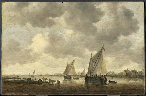 Deux grandes barques à voiles sur un fleuve et bestiaux près de la rive