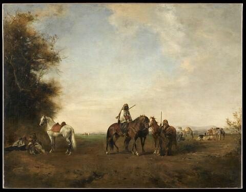 Halte de cavaliers arabes dans la plaine