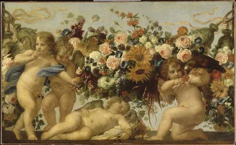 Amour et guirlande de fleurs avec perroquet