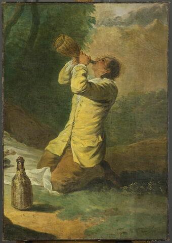Homme agenouillé et buvant