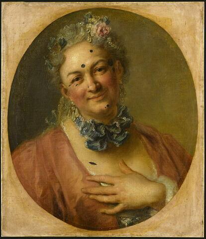 """Le chanteur Pierre de Jélyotte (1713-1797), dans le rôle de la nymphe Platée, de l'opéra bouffe de Rameau """"Platée ou Junon jalouse"""" (créé en 1745)."""