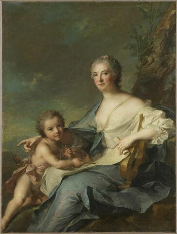 Madame de Sambreval, représentée en Érato, muse de la poésie lyrique (Françoise Geneviève de Vallembras de Sambreval (1700-1779))