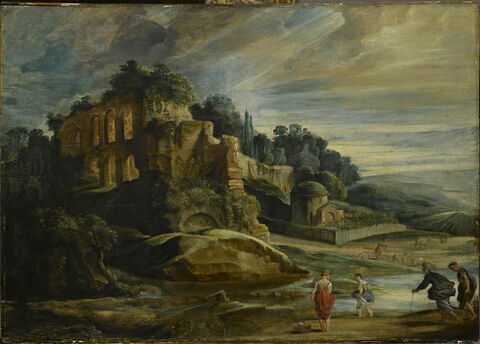 Paysage avec les ruines du mont Palatin à Rome